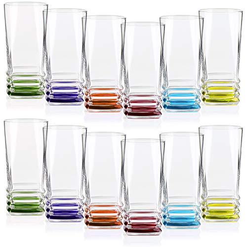 COM-FOUR® 12 Trinkgläser im stilvollen modernen Design, spülmaschinenfest (12 Stück - Trinkglas) - Wasser Trink Gläser