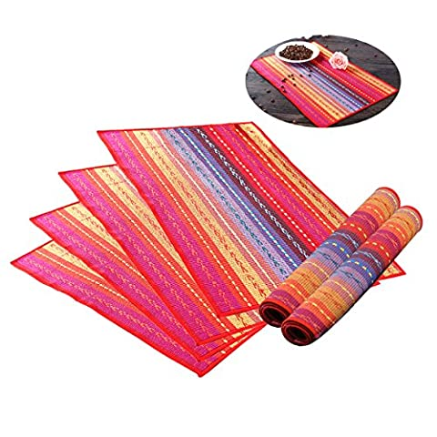 HQdeal Table Mats Set of 6 Protector Heat Insulation Non-slip Anti Oil Cotton Dining Room Baking Placemat Rainbow Striped Rectangle, Red