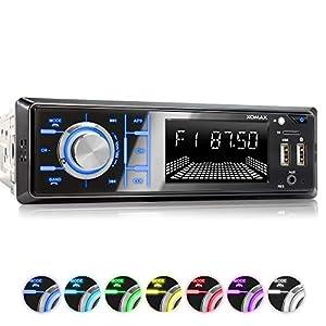 XOMAX XM-R268 Car Stereo with Bluetooth I Mobile phone charging via 2nd USB port I RDS Radio Tuner, FM I 7 Lighting colours I 2x USB, SD, AUX I 1 DIN