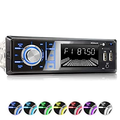 XOMAX XM-R268 Car Stereo with Bluetooth I Mobile phone charging via 2nd USB port I RDS Radio Tuner, FM I 7 Lighting colours I 2x USB, SD, AUX I 1 DIN