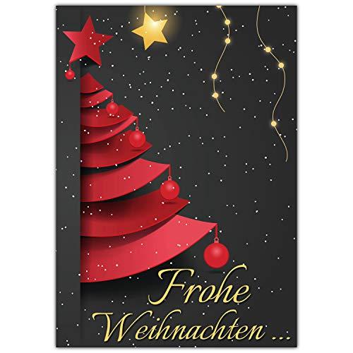 A4 XXL Weihnachtskarte WEIHNACHTSBAUM mit Umschlag – edle Klappkarte für liebe Kollegen Freunde Verwandte – Frohe Weihnachten Karte von BREITENWERK