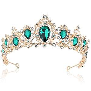 Coucoland Braut Tiara Hochzeit Krone Luxus Prinzessin Diadem Kristall Geburtstag Krone Damen Kostüm Accessoires (Stil 4 – Gold Grün)