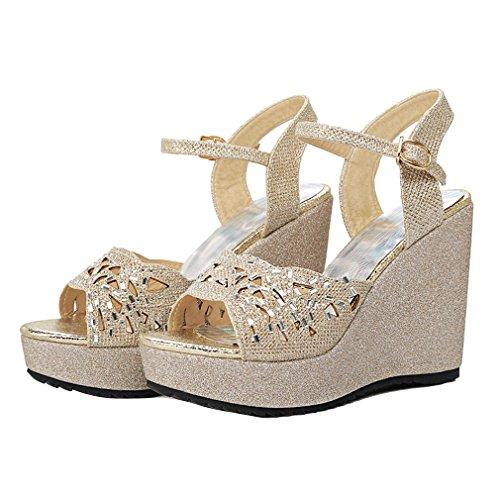 YE Damen Offen Glitzer riemchen High Heel Plateau Sandalen mit Keilabsatz und Schnalle Bequem Schuhe Gold