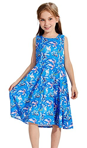 Prinzessin Kleid Blau Unicorn Printed Cartoon Muster Kostüm (Alte Cartoon Kostüme)