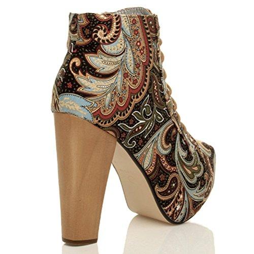 Femmes bottines lacets plateforme talon haut grosse en bois bottes taille Imprimé cachemire