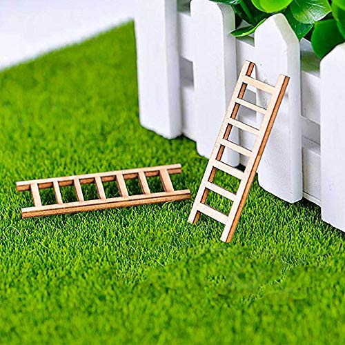 Sprießen 20 Stück 60x23MM Miniatur-Ornamente für den Garten aus Holz,Miniatur Holz Stufenleiter Puppenhaus DIY Handwerk Spielzeug Ornamente Fee Garten Kit