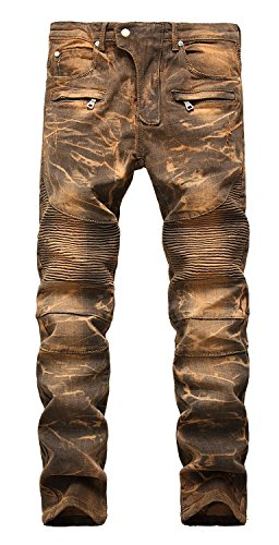 AIYINO Herren Jeanshose Biker Destroyed Look Jeans Hose Denim 6 Style (30W / 32L, 01 Golden)