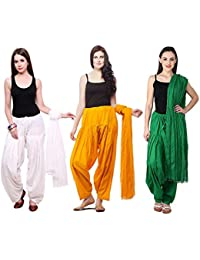 Fashion Store Women Cotton Patiala Salwar With Dupatta Combo Of 3 (Free Size, Mustered-Yellow & Green & White )