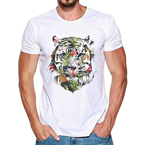 Ulanda-EU Mens T-Shirts Summer Short Sleeve Tiger Printed Boys Funny Tops Casual Formal Regular Fit Polo Blouse Designer for Man Shirts Clothes Clearance
