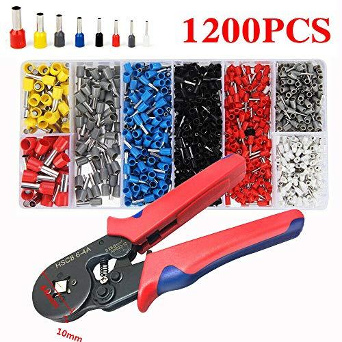 MASO 1200Pcs Wire Terminal Connector Crimp Tool Bootlace Ferrule Crimper Plier Sets -