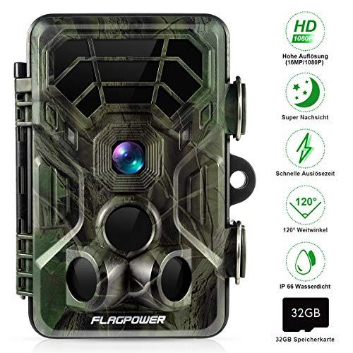 """FLAGPOWER Wildkamera Fotofalle 16MP 1080P Full HD Jagdkamera 120°Weitwinkel 20m Nachtsichtkamera mit Bewegungsmelder IP66 Wasserdicht Überwachungskamera für Wildtierjagd Heimsicherheit 2.4\""""LCD MEHRWEG"""