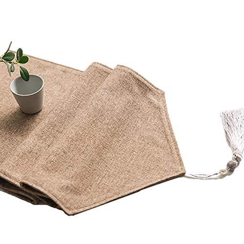Chemin De Table De Couleur Pure, Couvertures De Table De Drapeau De Table De Lin (Couleur : Light brown, taille : 30×160cm)