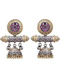 Peora Traditional Dual Tone Fancy Designer Ruby Stone Oxidised Jhumki Jhumka Earrings for Women and Girls