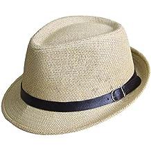 Outflower Sombrero de Paja de Tapa Plana para Niños de Primavera y Verano  Gorra de Protección 0ec12b83272