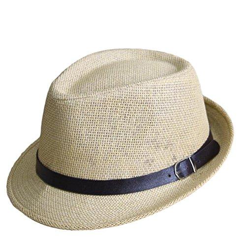 Doitsa sombrero de jazz niños sombrero color Unie cinturón hebilla diseño  Gorra verano playa paja. ba1f66cc114