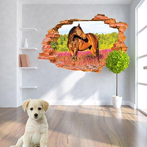Preisvergleich Produktbild 3D- Selbstklebende Abnehmbaren Durchbrechen Die Mauer Vinyl Wandsticker / Wandgemälde Kunst Aufkleber Dekorateur (Pferd Horse 8001H ( 60 x 90cm))