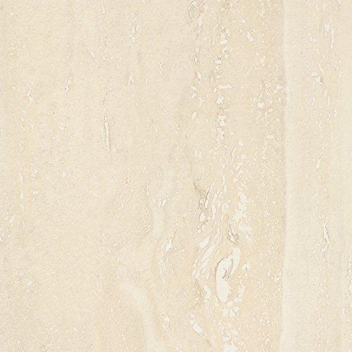 BODENMEISTER BM73340 Klick Laminat-Boden Steinoptik, rundum gefast 4 V-Fuge, Fliesenoptik Travertin hell-braun, 605 x 282 x 8 mm