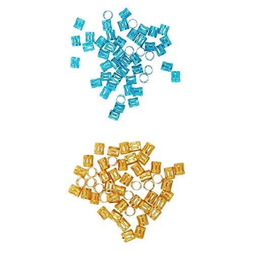 MagiDeal 100 Pièces Bleu Doré Dreadlock Perles Réglable Cheveux Tresses Manchette Clip 8mm Trou De Mode Cheveux Tressage Anneaux Perles Ethnique Coiffure Bijoux