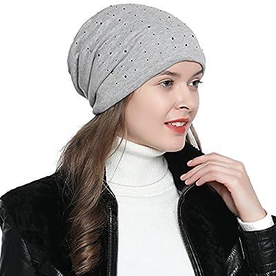 Damen Mütze Wintermütze Slouch Beanie Sterne schwarzer Strass