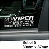Lote de 5 pegatinas Viper con aviso de alarma y rastreador GPS, de 87 x 30mm. Advertencia para coches,...