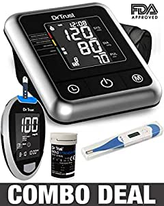 Dr Trust Electric Digital Blood Pressure Machine + Glucose Blood Sugar Testing Glucometer Monitor with 10 Strips and Thermometer (Black)