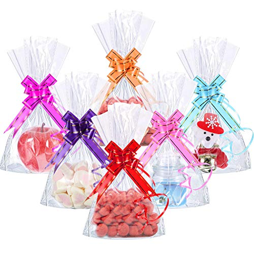 Bolsas de Celofán, INTVN 200 Piezas 15 x 20 cm Treat Bags de Fondo de Bloque Transparente Bolsa de Dulces/Fiesta/Regalo/Hogar con Lazos de Bolsa Coloridos