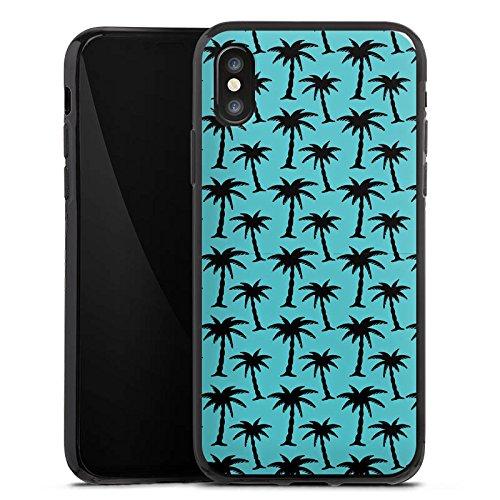 Apple iPhone X Silikon Hülle Case Schutzhülle Palmen Muster Blau Silikon Case schwarz