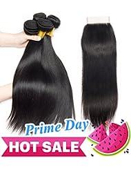 Ladiary tissage bresilien avec closure lisse tissage naturel closure frontale 10A Top Qualität cheveux humain naturel brésilienne 340g (10 12 14+10) pouce