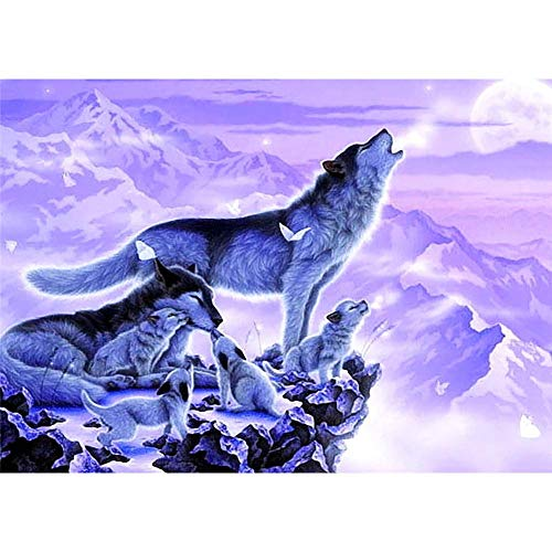 vanpower 5D DIY Full Drill Diamant Gemälde Wolf Muster Runde Strass Mosaik-Kits Home Wall Decor, G-2048, 40x30 cm/15.75x11.81in 2048 Kit