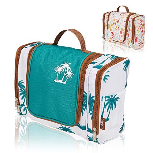 ZAMA XXL Design Kulturtasche | Kulturbeutel zum aufhängen mit Haken und Henkel für Damen und Herren | Kosmetiktasche aufklappbar, groß, leicht für Koffer