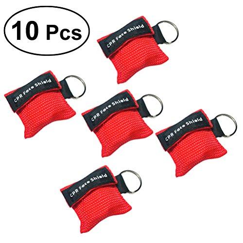 UEETEK 10 STÜCKE CPR Gesichtsmasken Einwegventil Rettungs Gesichtsschilde Notfall Kits Keychain Kits für Erste Hilfe oder AED Ausbildung (rot)
