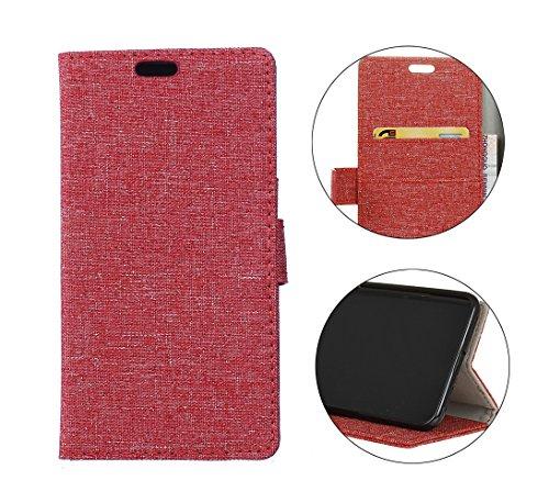 Cover Per iPhone X, Sunrive Custodia con supporto di stand e in pelle artificiale per carte di credito Portafoglio Flip Chiusura Magnetica Protettiva(crazy-cavallo bianco) lino rosso