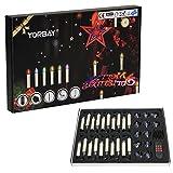 Yorbay (UPGRADE VERSION) LED Weihnachtskerzen GS geprüft RGB/Warmweiß mit Fernbedienung mit Timerfunktion als Weihnachtsdeko/für Weihnachtsbaum, Hochzeit, Partys (L (30er Set))