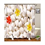 Daesar 3D Duschvorhang Polyester-Stoff Vintage Blume Duschvorhang Anti-Schimmel 180x200 cm