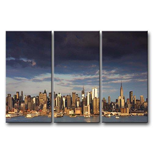ür Home Decor NEW YORK HOCHHAUS by the Sea 3Stück Gemälde Moderne Giclée-gespannt und gerahmt Artwork Öl der City Bilder Foto Prints auf Leinwand (Das Empire Hotel New York Halloween)