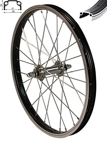 """Redondo 16 Zoll Vorderrad Laufrad Fahrrad 16\"""" Kasten Felge Aluminium Schwarz"""