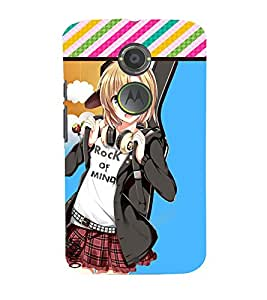Omnam Cartoon Girl With Rock On Mind Printed Back Cover Case For Motorola Moto X2