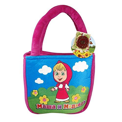 """Kinder Tasche mit Mascha aus Multi-Pulti """"Mascha und der Bär"""" / 20 cm / weich und kuschelig (Pink/Rosa) Rot"""