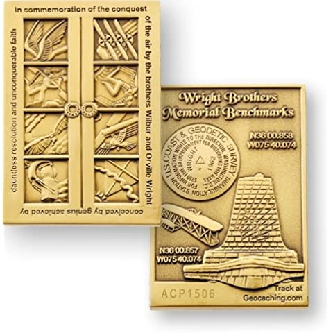 Wright Brothers shirtzshop Bench Mark coin - bronzo geocoin TravelBug, Geocaching coin, coin and pins