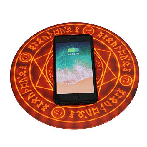 JZWDMD Cargador inalámbrico Matriz mágica Redondo Universal de 10 W para Smartphone, diseño de Matriz de círculos,Brown