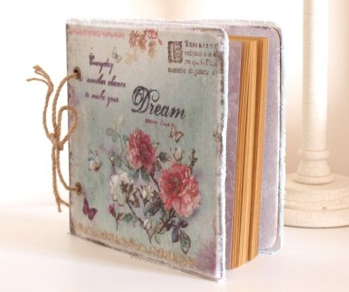 Rose Floral Cotton Fabric (Chic Shabby Pretty Vintage Style Handmade Notebook Scrapbook for Photographs & Memorabilia - Floral Rose Pattern Pastel Green Dream Canvas/Cotton Notebook Cover by Heaven Sends)