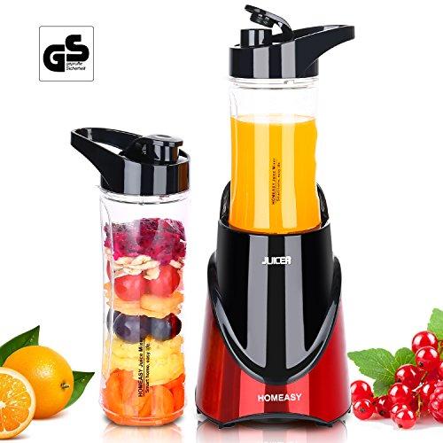 HOMEASY Standmixer Smoothiemaker Mini Blender für Smoothies und Milchshakes Edelstahlgehäuse Mixer inkl.2 Trinkflaschen (Joghurt-maker Mix)
