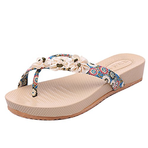 Longra Donna floreale di moda femminile con i sandali punta piatta Blu