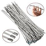 BESTOMZ 100 Stück Metallkabelbinder Kabelbinder Stahlband Edelstahl Hitzeschutzband Auspuffband