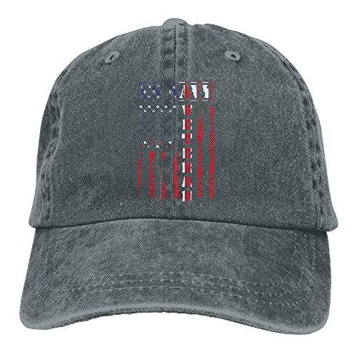 Mabaeson Unisex Yarn-Dyed Baseball Cap Us Navy Veteran Distressed American Flag Dad Hat -