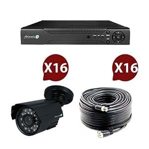 Video surveillance - Pack 16 caméras infrarouge kit 2 - Atlantic'S contenant 1 enregistreur numérique 16 voies, 16 caméras infrarouge vision nocturne et 16 câbles pour la transmission vidéo et lalimentation.