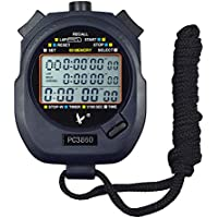 Caleqi Digital Professional Handheld LCD chronographe Sports Chronomètre, Three-row 60souvenirs Lap Counter cours Minuteur.