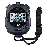 Caleqi professionale portatile LCD digitale cronografo sport cronometro, three-row timer con 60memorie contatore corsa.