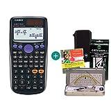 Casio FX 85 GT Plus Schwarz + Schutztasche + Geometrie-Set + Lern-CD