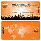 (100 x) Einladungskarten Geburtstag Eintrittskarte Party Ticket Einladungen Orange